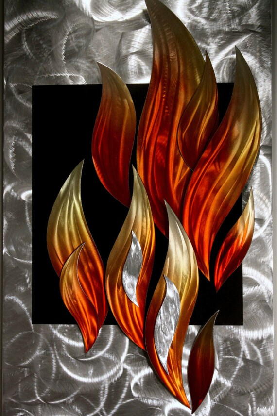 Metal Sculptures And Art Wall Decor: Metal Art Wilmos Kovacs Flames Fire Abstract Metal Wall