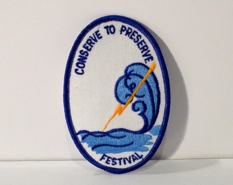 Conserve to Preserve Patch Vintage Water Conservation Fabric Patch Ocean Wave Lightning Bolt Embroidered patch Girl Scout 1990s 1980s Eco