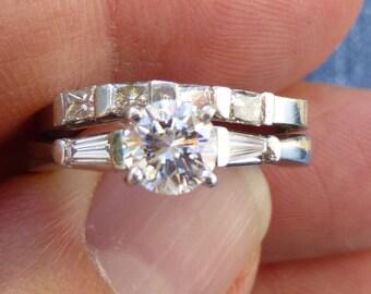 Must have  40 points PRINCESS diamond wedding band stacker band engagment ring Platinum