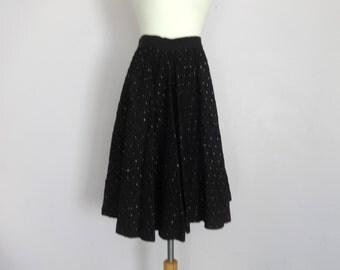 Vintage 50's Black Circle Skirt with Metallic Detail