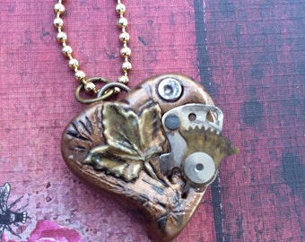 Steampunk Heart Pendant Necklace - Bronze Leaf and Watch Parts
