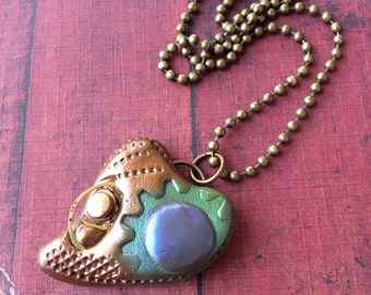 Steampunk Heart Pendant Necklace - Rainbow (Will add custom Letter or Number)