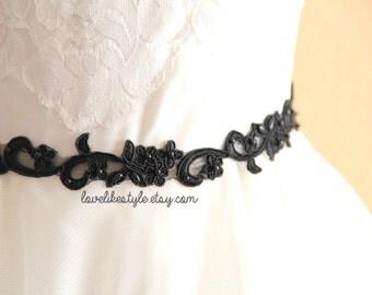 Skinny Black Beaded Flower Lace with Black  Ribbon Head Band / Skinny Lace Sash, Bridal Sash, Bridesmaid Sash