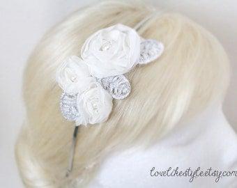 Ivory Pearl Beaded Chiffon Flower Headband, Bridal Head Piece, Bridesmaid Headband