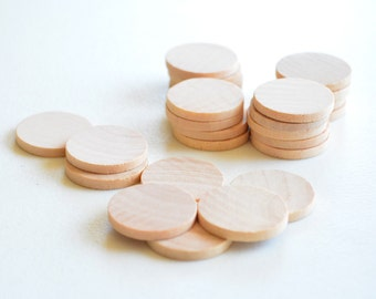 25 Unfinished Wooden Circles 1""