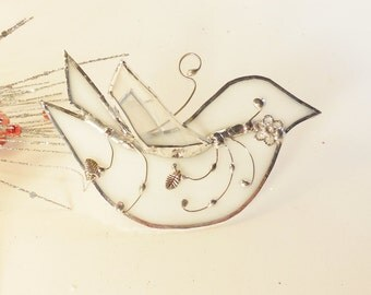 Stained Glass White Bird. The Happy Bird. Ornament. Home Decor. Suncatcher.