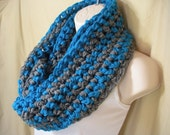 Turquoise Blue and Gray Striped Cowl Infinity Circle Scarf Neckwarmer