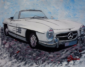 The White Mercedes SL 300 1957 - Limited Edition Fine Art Print