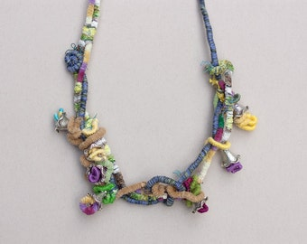 Pastel statement necklace, mixed media jewelry, OOAK