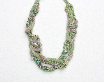Pastel green knitted necklace, braided fiber jewelry, OOAK