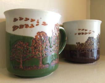 Earthy Ceramic Mugs with Trees