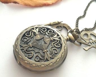 Steampunk Pocket Watch necklace Cross - Caribbean  pirates-gun-skull charms