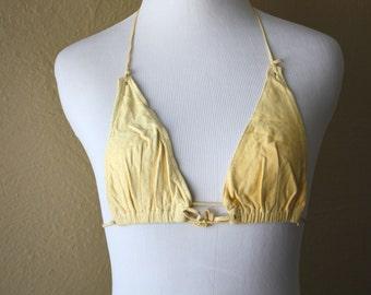 Vintage Untanned Buckskin Bikini Top