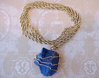 Super Pretty Vintage Necklace of Moroccan Azurite on Gold Plated Sterling Silver Chain