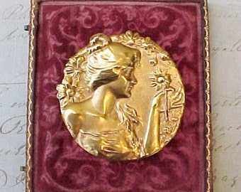 Beautiful Large Stamped Metal Art Nouveau Style Brooch with Pretty Lady Holding Flower