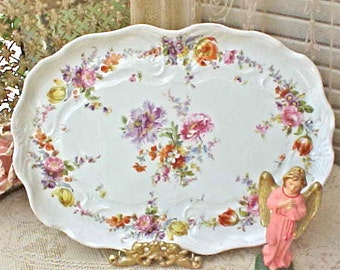 Gorgeous Antique German Hand Painted Porcelain Platter or Vanity Tray