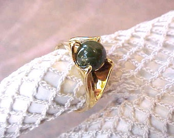 Very Pretty and Dainty Gold Over Sterling Silver Ring With Polished Jade