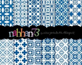 Portuguese Tiles - Digital Scrapbook Paper Pack (8.5 x11 - 300 dpi)  - 12 Digital papers - Instant Download - by nahhan73 (PDP_041)