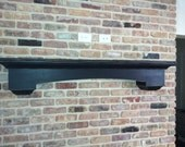 Curved floating wall shelf with corbels - distressed mantle shelf