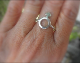 Male symbol sterling silver ring