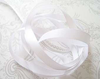 White Grosgrain Ribbon 3/8 -- 3 yards -- 9.5mm