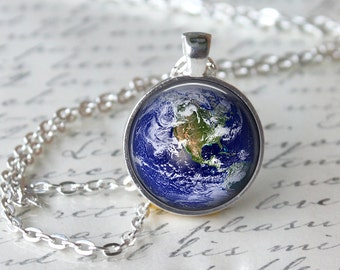 Planet Earth Necklace, Outer Space Pendant, Universe Jewelry