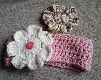 Pink Women's Headband with 2 Interchangeable Flowers, Organic Cotton