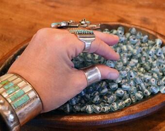 30 Translucent Seafoam Green Glass Evil Eye Beads
