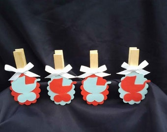 12pc Decorated Clothes Pins  Baby shower game Vintage Baby Carriage