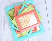 Adorable SHABBY CHIC Frames, Set of 6 Painted in Lime Green, Coral, and Turquoise