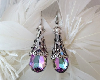 Mauve and Pink Swarovski Faceted Crystal  Dangle Stainless Steel Earrings