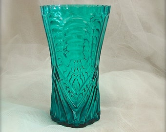 Vintage teal blue glass  vase, aqua blue glass vase, glass vase,
