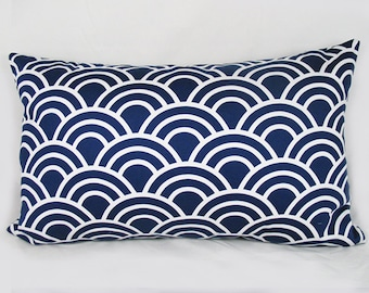 Scallop Navy - Decorative Pillow Cushion Covers - Accent Pillow - Throw Pillow