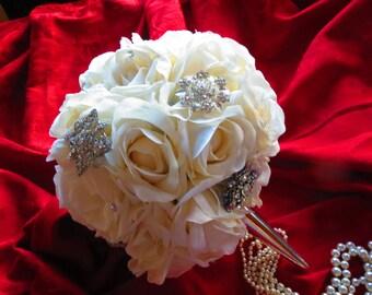 Silk Rose Brooch Bridal Bouquet Cream Ivory Keepsake Broach