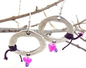 Hoop bead earrings, Pink gemstone beads, Semi Precious Stones