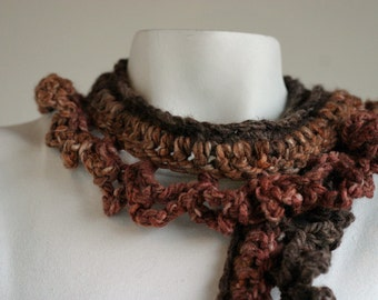 Mixed Brown Eva Rose Scarf for Women and Teens
