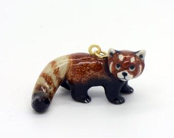 1 - Porcelain Red Panda Pendant Hand Painted Glaze Ceramic Animal Small Ceramic Red Panda Bead Jewelry Supplies Little Critterz (CA048)