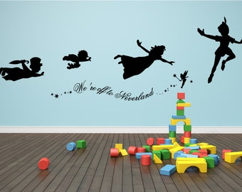 Decal Peter Pan We're off to Neverland wall decal, stickers mural art kids room