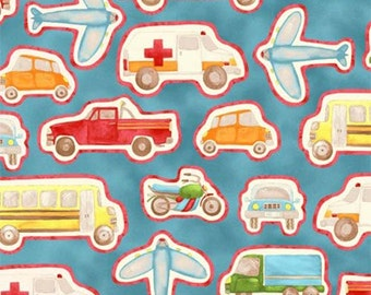 SALE- Henry Glass Fabric - Happy Town Collection - Happy Town Vehicles - Blue-Choose Your Cut 1/2 or Full Yard