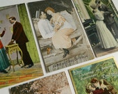 Group of 5 Lovely Cheeky Romantic Antique Postcards- Paper Ephemera Collectible Art Craft Repurpose Funny Dirty Risqué Unused