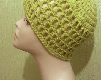Crocheted  Mesh Hat - Mesh Cap - Beanie - Lime Green Color - FREE UK DELIVERY