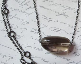 Smoky Quartz and Oxidized Sterling Silver Necklace