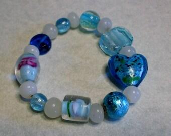 Shades of blue lampwork bead bracelet