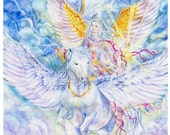 Angel Art, Angel Riding Unicorn, Pegasus, Pegacorn, Star Bearer Angel, Rainbow, Angel Art print, 8x10 art  print