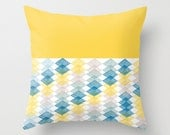 Pillow Cover, Throw Pillow, Nursery Pillow, Baby Pillow, Yellow Pillow, Watercolour Pillow, Geometric Pattern Pillow, Pastel Colours Pillow