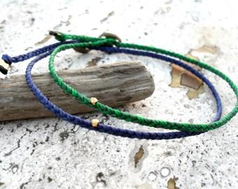 Beadstheater braided friendship bracelet in waxed nylon cord