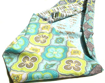 Love me TWO TIMES fabric cowl - double-sided, infinity, fabric, printed, floral, patterns, blue, green, lime, white, paisley