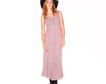 Vintage Lavender Garden Party V-Neck Sleeveless A-Line Maxi Dress
