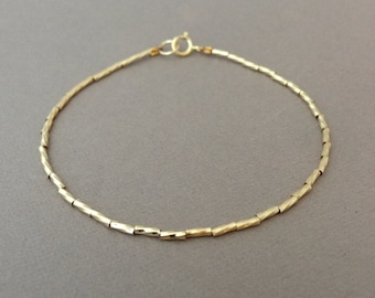 Twisted Gold Fill Beaded Bangle Bracelet also in Silver