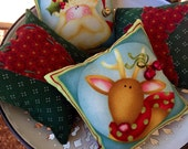 Christmas Santa and Reindeer Bowl Fillers- Country Prim Primitive Heart and Star